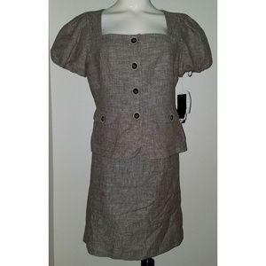 NEW Nine West Skirt Suit Jacket 10 Petite Linen Bl